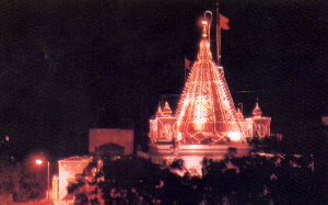 Illuminated Samadhi Mandir during important celebrations
